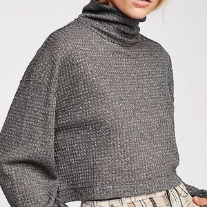 Free People Mock Neck Long Sleeve Crop Top
